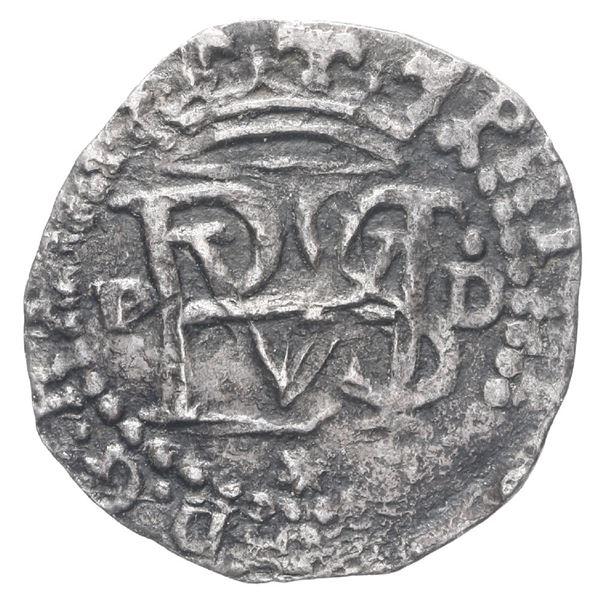Lima, Peru, cob 1/2 real, Philip II, assayer Diego de la Torre, P to left, dot-D to right, * below m