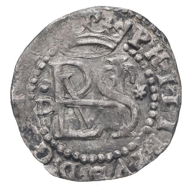 Lima, Peru, cob 1/2 real, Philip II, assayer Diego de la Torre, dot-D to left, * to right, ex-Stalla