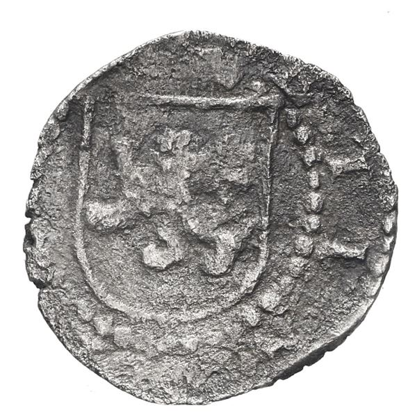 Lima, Peru, cob 1/4 real, Philip II, assayer Diego de la Torre, * to left and P to right of castle.