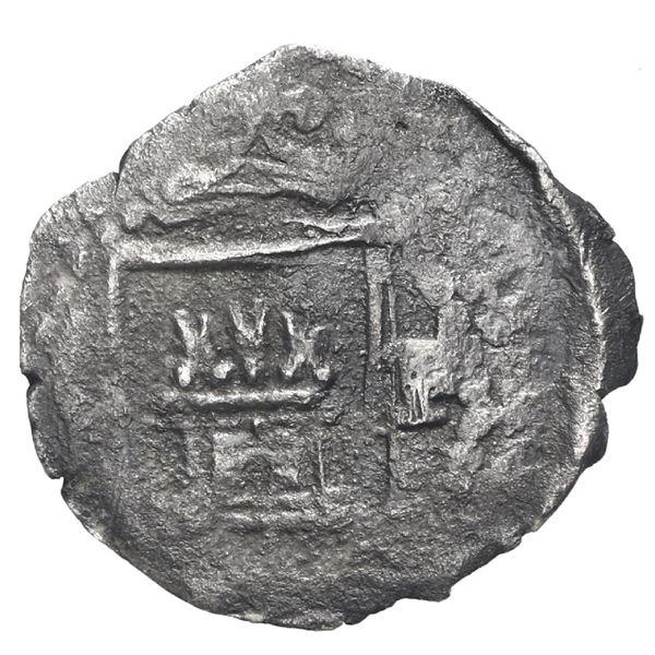 Lima, Peru, cob 1/4 real, Philip II, assayer Diego de la Torre, P to right of castle.
