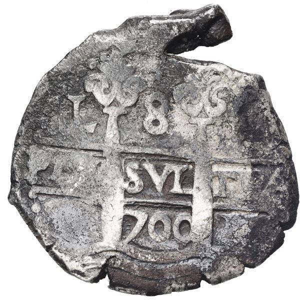 Lima, Peru, cob 8 reales, 1700 H.