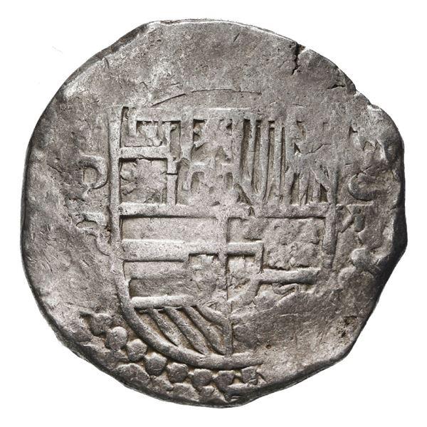 Potosi, Bolivia, cob 8 reales, Philip III, assayer R (curved leg).