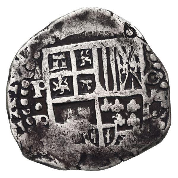 Potosi, Bolivia, cob 8 reales, Philip IV, assayer P (mid-1620s), quadrants of cross transposed.