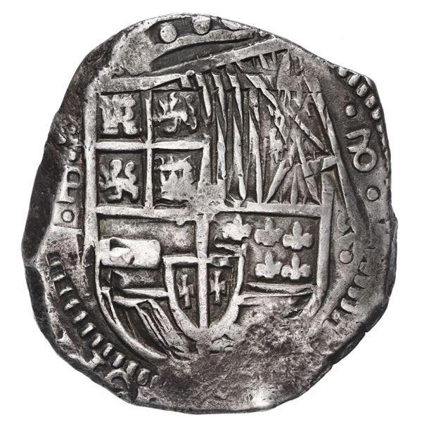 Potosi, Bolivia, cob 8 reales, 1629 T, denomination 8, fine-dot borders.