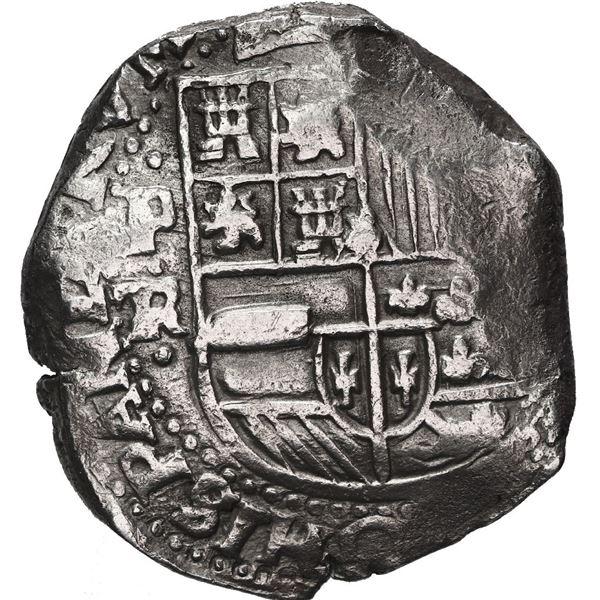 Potosi, Bolivia, cob 8 reales, Philip IV, assayer TR (mid-1630s).