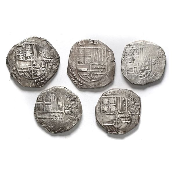 Lot of five Potosi, Bolivia, cob 8 reales, Philip III and IV, various assayers (where visible), most