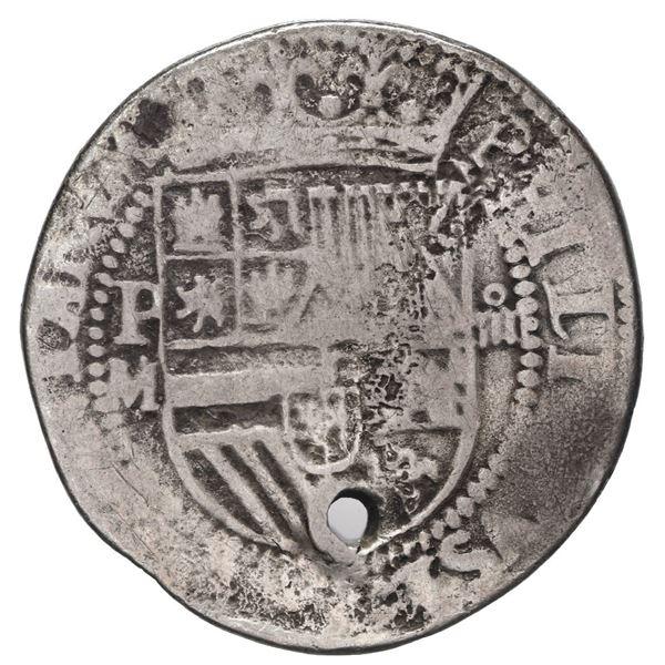 Potosi, Bolivia, cob 4 reales, Philip II, assayer M (large) to left, rare, ex-Stallard.