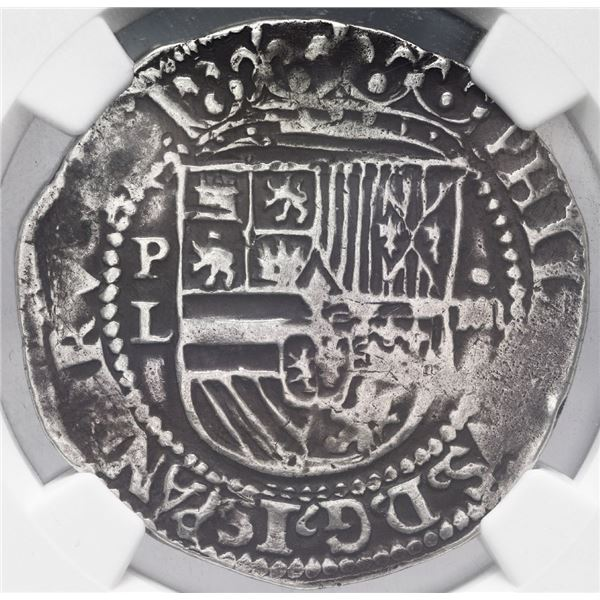 Potosi, Bolivia, cob 4 reales, Philip II, assayer L (1st period), rare, NGC VF details / plugged.