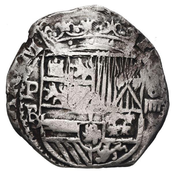 Potosi, Bolivia, cob 4 reales, Philip II, assayer B (5th period), borders of x's.
