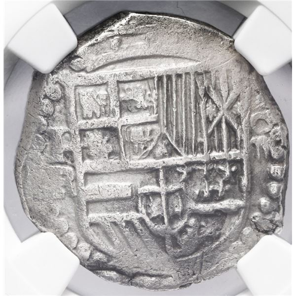 Potosi, Bolivia, cob 4 reales, Philip III, assayer R (curved leg), NGC AU 53, finest and only exampl