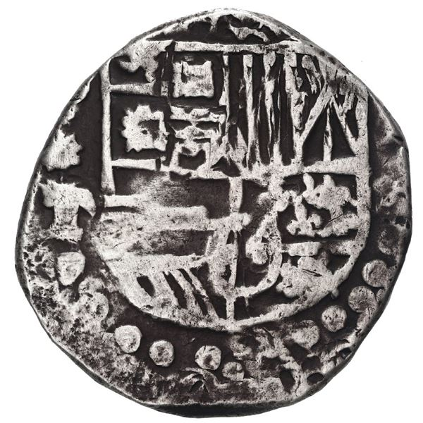 Potosi, Bolivia, cob 4 reales, Philip III, assayer T, quadrants of cross transposed.