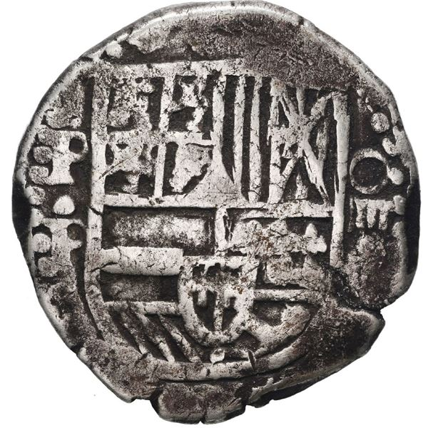 Potosi, Bolivia, cob 4 reales, Philip IV, assayer P (early 1620s), quadrants of cross transposed.