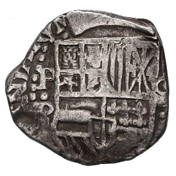 Potosi, Bolivia, cob 4 reales, Philip IV, assayer P (mid-1620s), quadrants of cross transposed.