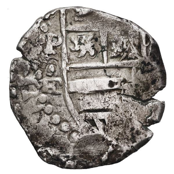Potosi, Bolivia, cob 4 reales, Philip IV, assayer FR (ca. 1640), struck with an 8R-sized shield.