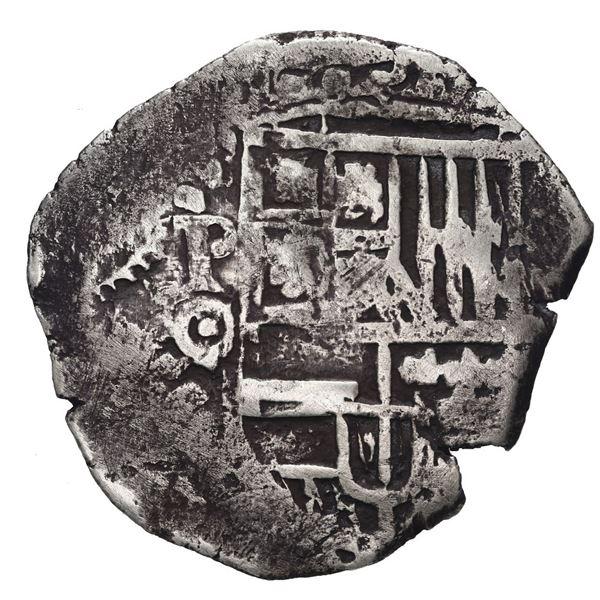Potosi, Bolivia, cob 4 reales, (1649) O, crowned-? countermark on cross.