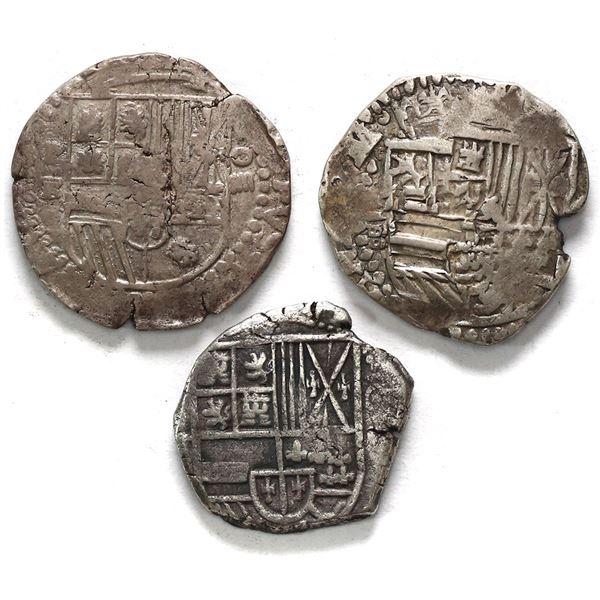 Lot of three Potosi, Bolivia, cob 4 reales, Philip II through IV, various assayers (where visible).
