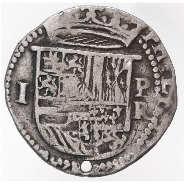 Potosi, Bolivia, cob 1 real, Philip II, assayer R below mintmark P to right, ex-Stallard.