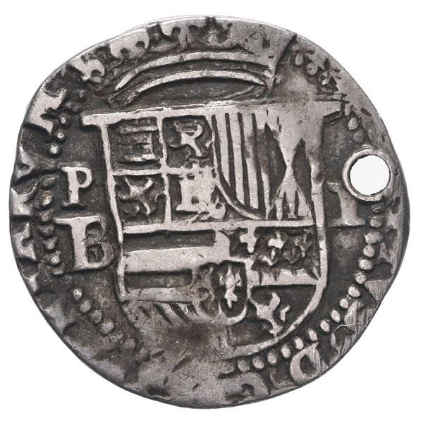 Potosi, Bolivia, cob 1 real, Philip II, assayer B/L (1st period) below mintmark P to left, ex-Stalla