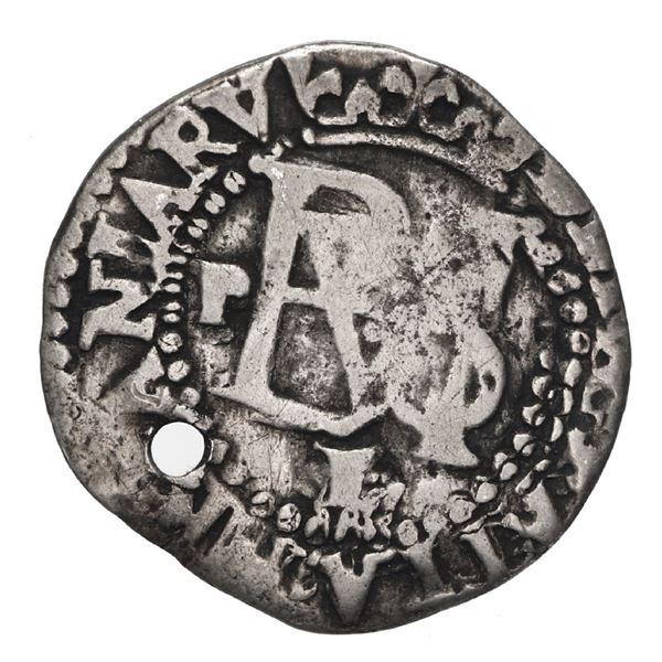 Potosi, Bolivia, cob 1/2 real, Philip II, assayer L/M (1st period) below, mintmark P to left of mono