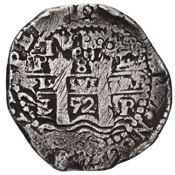 Potosi, Bolivia, cob 8 reales, 1652 E post-transitional (Transitional Type VIII/B), 1-PH-6 at top.
