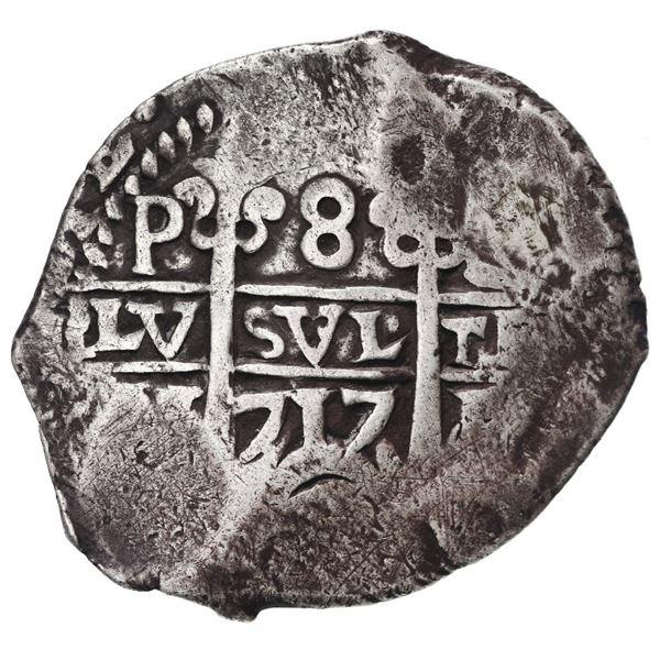 Potosi, Bolivia, cob 8 reales, 1717 Y.