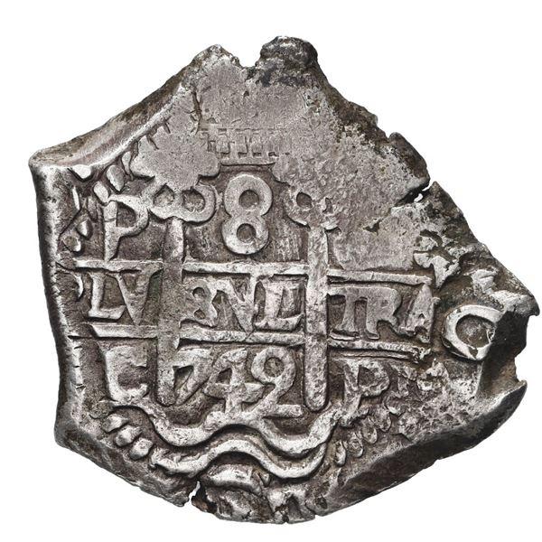 Potosi, Bolivia, cob 8 reales, 1742 C.