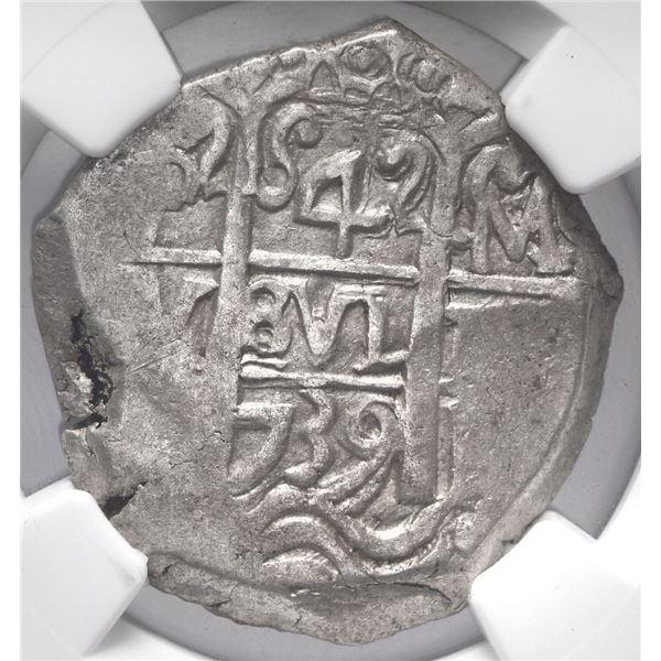 Potosi, Bolivia, cob 4 reales, 1739 M, NGC AU 58.