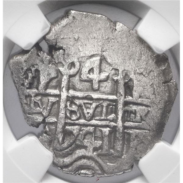 Potosi, Bolivia, cob 4 reales, 1741 P, NGC AU details / environmental damage.