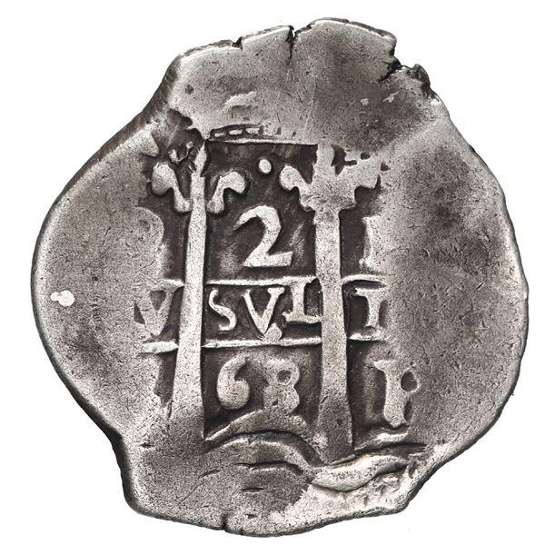 Potosi, Bolivia, cob 2 reales, 1668 E.