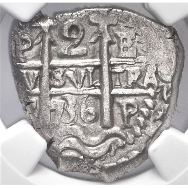 Potosi, Bolivia, cob 2 reales, 1736 E, NGC MS 62.