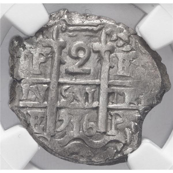 Potosi, Bolivia, cob 2 reales, 1736 E, NGC AU 58.