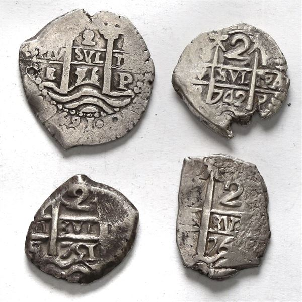 Lot of four Potosi, Bolivia, cob 2 reales: 1656 E, 1742 P, 1751 q, 176? V-(Y).