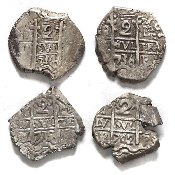 Lot of four Potosi, Bolivia, cob 2 reales: 1734 (E), 1736 E, 1739 M, 1742 P.
