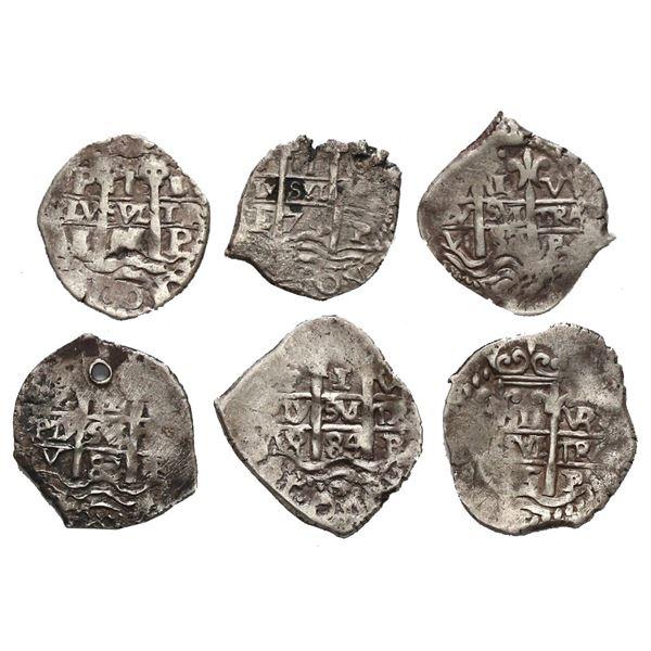 Lot of six Potosi, Bolivia, cob 1R: 1655 E, 1674 E, 1682 V, 1683 V, 1684 VR, 1685 VR.