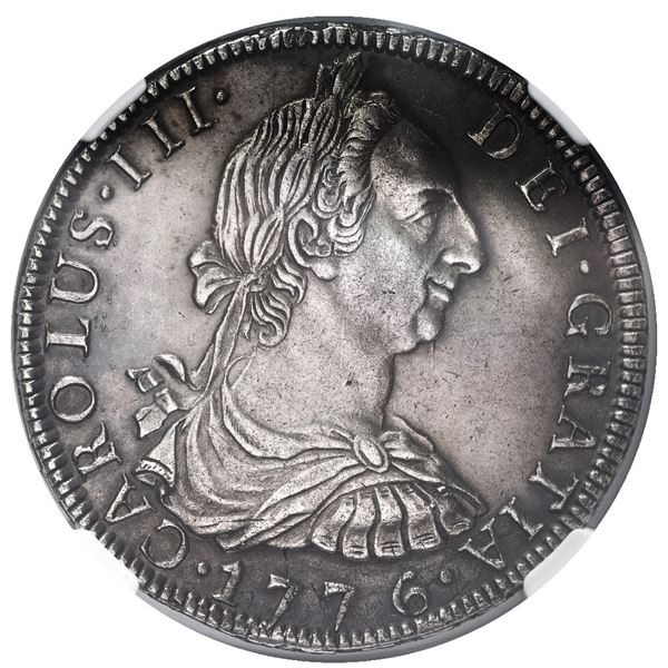 Potosi, Bolivia, bust 8 reales, Charles III, 1776 JR, NGC AU details / cleaned.