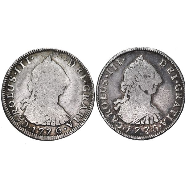 Lot of two Potosi, Bolivia, bust 4 reales, Charles III, 1776 JR and PR.