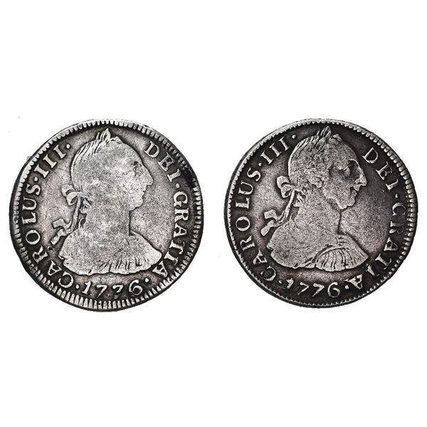 Lot of two Potosi, Bolivia, bust 2 reales, Charles III, 1776 JR and PR.
