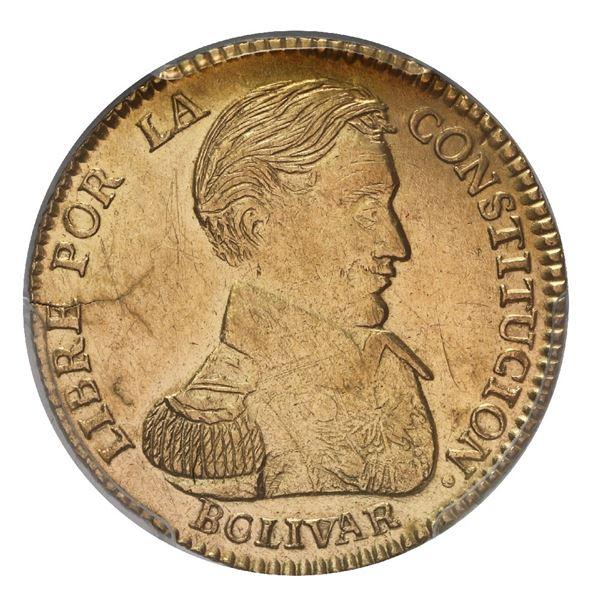 Potosi, Bolivia, gold 2 scudos, 1834 LM, PCGS AU details / tooled.