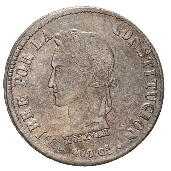 "Potosi, Bolivia, 8 soles, 1860 FJ, Bolivar facing left, ""400 Gs"" in legend."