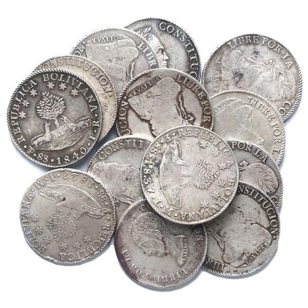 Large lot of thirteen Potosi, Bolivia, 8 soles, various Bolivar busts, dates as follows: 1827 JM, 18