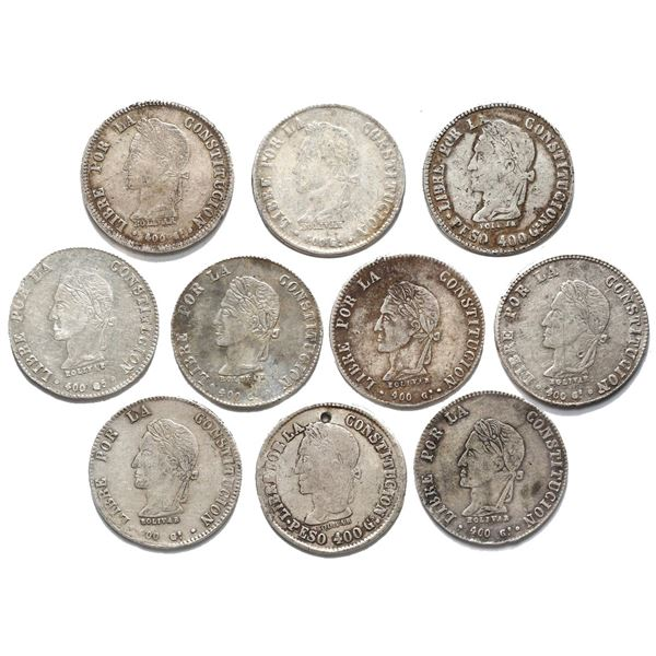 Large lot of ten Potosi, Bolivia, 8 soles, laureate Bolivar busts, dated 1859-63.