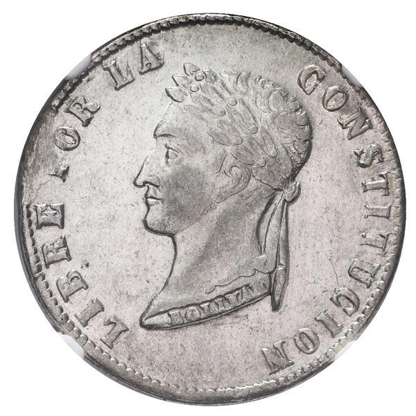 Potosi, Bolivia, 4 soles, 1855 MJ, NGC AU details / cleaned.