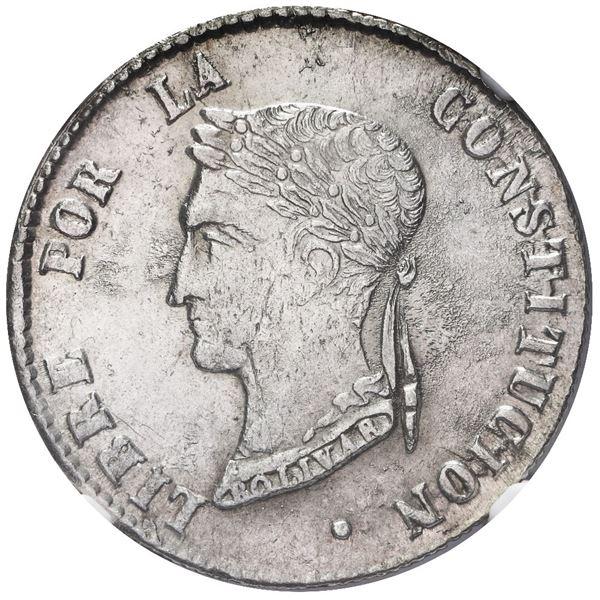 Potosi, Bolivia, 4 soles, 1857 FJ, NGC UNC details / reverse cleaned.