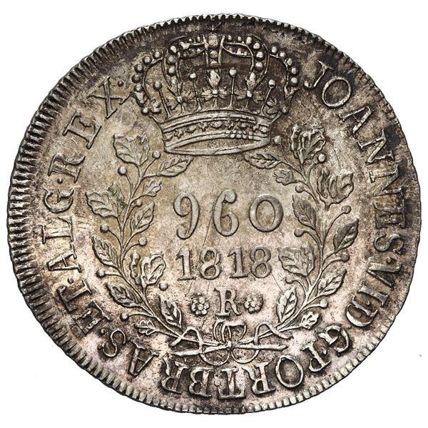 """Brazil (Rio mint), 960 reis, Pedro I, 1824-R, struck over a Santiago, Chile, """"volcano"""" peso dated 18"""