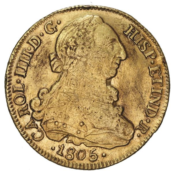 Santiago, Chile, gold bust 8 escudos, Charles IV (bust of Charles III), 1805 FJ, rare.