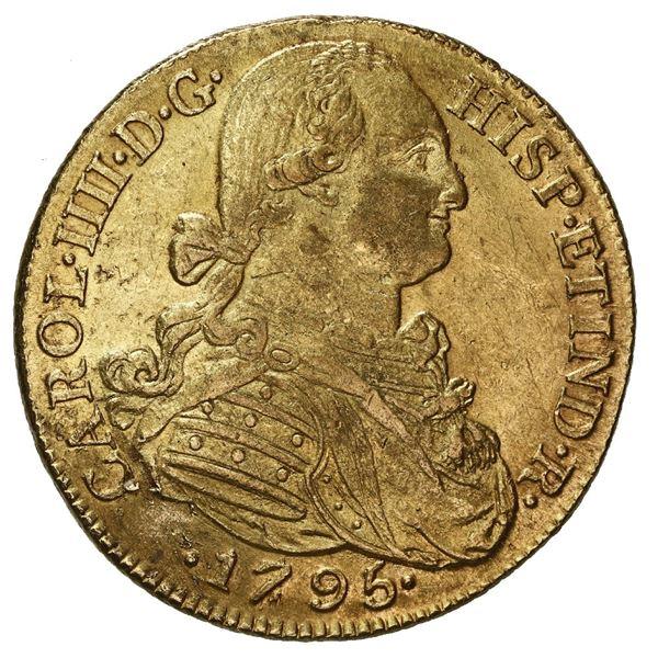 Bogota, Colombia, gold bust 8 escudos, Charles IV, 1795 JJ.