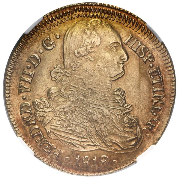 Popayan, Colombia, gold bust 8 escudos, Ferdinand VII (bust of Charles IV), 1819 FM, off-center doub