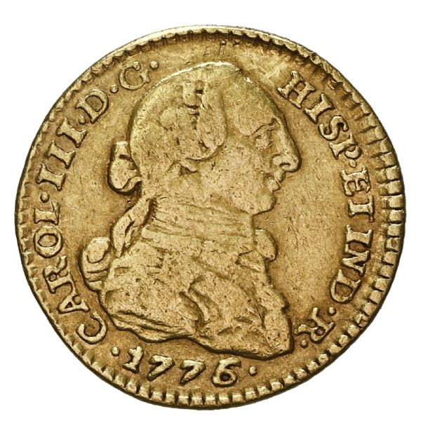 Bogota, Colombia, gold bust 1 escudo, Charles III, 1776 JJ.