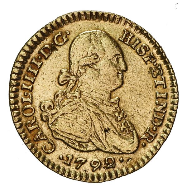 Popayan, Colombia, gold bust 1 escudo, Charles IV, 1792 JJ.