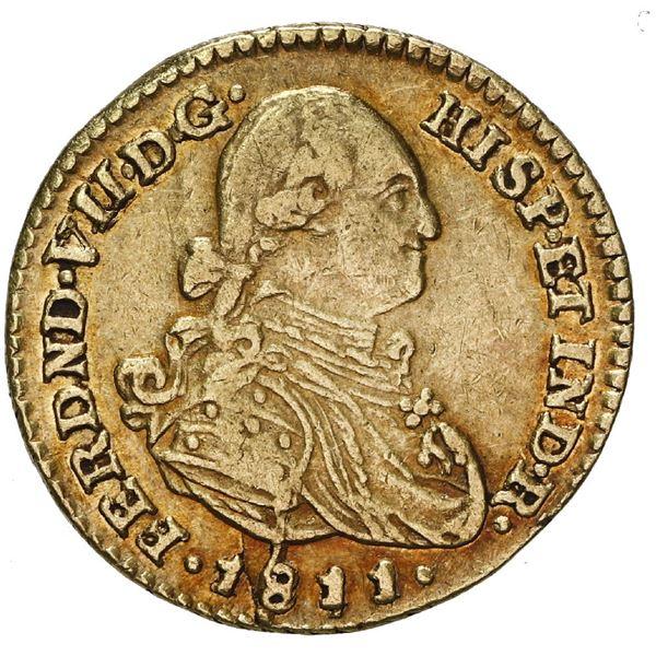 Bogota, Colombia, gold bust 1 escudo, Ferdinand VII (bust of Charles IV), 1811 JJ.